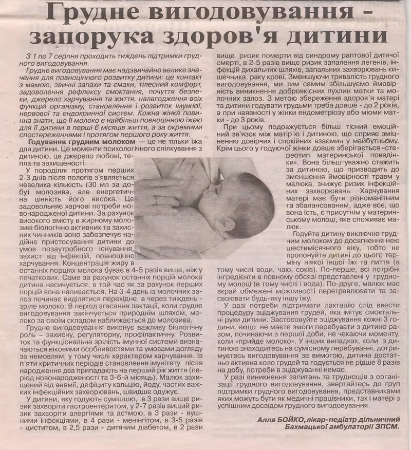 Грудне вигодовування - запорука здоров'я дитини